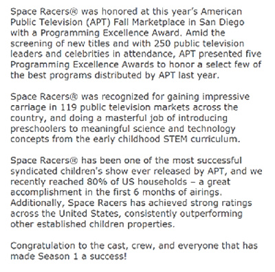 space racers award